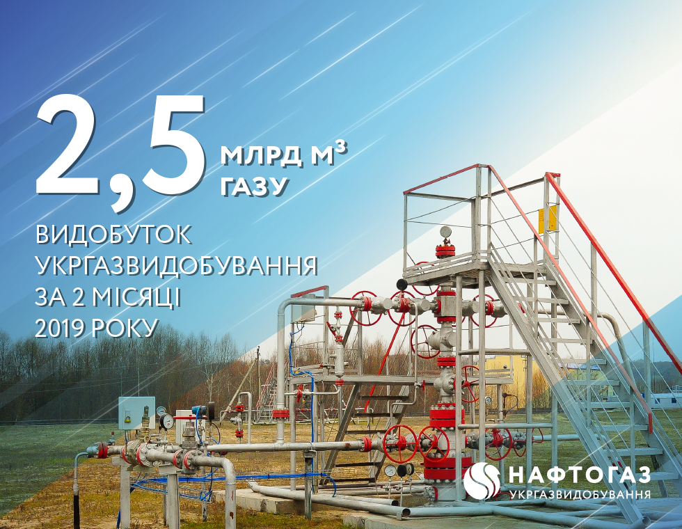 Production volume of Ukrgasvydobuvannya for 2 months of 2019 reached 2.5 billion cubic meters