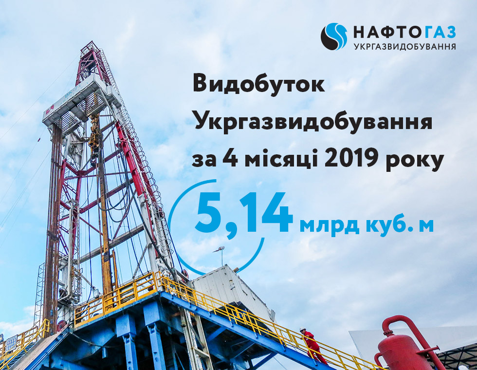 Production volume of Ukrgasvydobuvannya for 4 months of 2019 reached 5.14 billion cubic meters