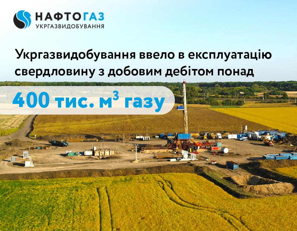 Укргазвидобування ввело в експлуатацію високодебітну свердловину в Харківській області