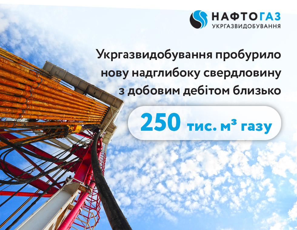 Нова надглибока свердловина Укргазвидобування дала високий дебіт газу